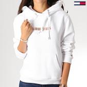 /achat-sweats-capuche/tommy-hilfiger-jeans-sweat-capuche-femme-metallic-logo-6776--blanc-dore-186599.html
