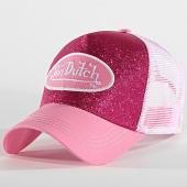 /achat-trucker/von-dutch-casquette-trucker-flak-rose-blanc-186584.html