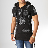 /achat-t-shirts-longs-oversize/ikao-tee-shirt-oversize-a-capuche-f537-noir-blanc-186665.html