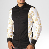 /achat-chemises-manches-longues/ikao-chemise-manches-longues-floral-f506-noir-blanc-dore-186668.html