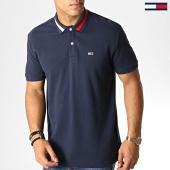 /achat-polos-manches-courtes/tommy-hilfiger-jeans-polo-manches-courtes-flag-neck-6576-bleu-marine-blanc-rouge-186829.html