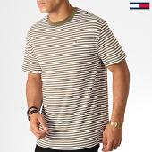 /achat-t-shirts/tommy-hilfiger-jeans-tee-shirt-classics-stripe-5515-vert-kaki-blanc-186928.html