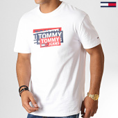 /achat-t-shirts/tommy-hilfiger-jeans-tee-shirt-multi-corp-logo-6498-blanc-186935.html