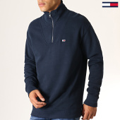 /achat-sweats-col-zippe/tommy-hilfiger-jeans-sweat-col-zippe-solid-zip-mock-neck-6586-bleu-marine-186969.html