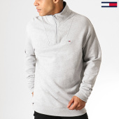 /achat-sweats-col-zippe/tommy-hilfiger-jeans-sweat-col-zippe-solid-zip-mock-neck-6586-gris-chine-186972.html