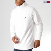 /achat-sweats-col-zippe/tommy-hilfiger-jeans-sweat-col-zippe-solid-zip-mock-neck-6586-blanc-186974.html