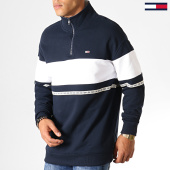 /achat-sweats-col-zippe/tommy-hilfiger-jeans-sweat-col-zippe-tape-zip-mock-neck-6587-bleu-marine-blanc-186975.html