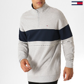 /achat-sweats-col-zippe/tommy-hilfiger-jeans-sweat-col-zippe-tape-zip-mock-neck-6587-gris-chine-bleu-marine-186976.html