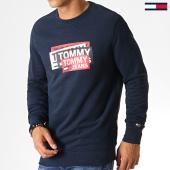 /achat-sweats-col-rond-crewneck/tommy-hilfiger-jeans-sweat-crewneck-multi-corp-logo-6589-bleu-marine-186977.html