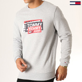 /achat-sweats-col-rond-crewneck/tommy-hilfiger-jeans-sweat-crewneck-multi-corp-logo-6589-gris-chine-186980.html
