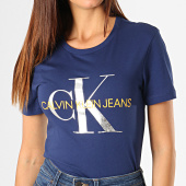 /achat-t-shirts/calvin-klein-tee-shirt-femme-metallic-monogram-1508-bleu-marine-argente-orange-187848.html
