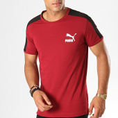 /achat-t-shirts/puma-tee-shirt-slim-a-bandes-iconic-t7-595292-bordeaux-187871.html