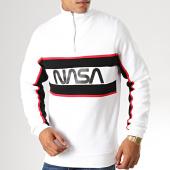 /achat-sweats-col-rond-crewneck/nasa-sweat-col-demi-zip-worm-logo-blanc-188240.html