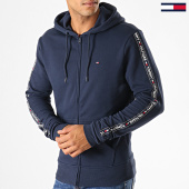 /achat-sweats-zippes-capuche/tommy-hilfiger-sweat-zippe-capuche-a-bandes-hwk-0708-bleu-marine-188180.html