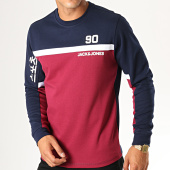 /achat-sweats-col-rond-crewneck/jack-and-jones-pull-leon-bordeaux-bleu-marine-188340.html
