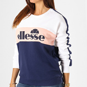 /achat-sweats-col-rond-crewneck/ellesse-sweat-crewneck-femme-avec-bandes-ginny-1076n-blanc-rose-bleu-marine-188511.html