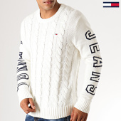 /achat-pulls/tommy-hilfiger-jeans-pull-cable-logo-7002-ecru-188596.html