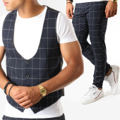 /achat-pantalons-carreaux/classic-series-ensemble-pantalon-et-gilet-a-carreaux-3189-bleu-marine-188771.html