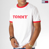 /achat-t-shirts/tommy-hilfiger-jeans-tee-shirt-logo-1620-blanc-rouge-188674.html