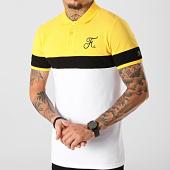 /achat-polos-manches-courtes/final-club-polo-tricolore-avec-broderie-271-blanc-noir-jaune-189324.html