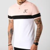 /achat-polos-manches-courtes/final-club-polo-tricolore-avec-broderie-272-blanc-noir-rose-189325.html