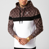 /achat-sweats-capuche/final-club-sweat-capuche-damier-avec-broderie-286-marron-noir-blanc-189326.html