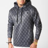 /achat-sweats-capuche/final-club-sweat-capuche-damier-avec-broderie-285-noir-gris-189327.html