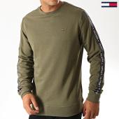 /achat-sweats-col-rond-crewneck/tommy-hilfiger-jeans-sweat-crewneck-a-bandes-0705-vert-kaki-189485.html