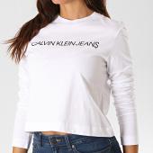 /achat-t-shirts-manches-longues/calvin-klein-jeans-tee-shirt-crop-femme-manches-longues-2234-blanc-190045.html