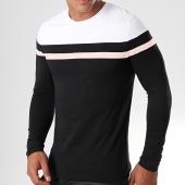 /achat-t-shirts-manches-longues/lbo-tee-shirt-manches-longues-tricolore-821-blanc-rose-pale-noir-190092.html