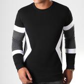 /achat-sweats-col-rond-crewneck/lbo-sweat-crewneck-tricolore-818-gris-anthracite-blanc-noir-190098.html