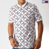 /achat-polos-manches-courtes/tommy-hilfiger-jeans-polo-manches-courtes-all-over-print-6945-blanc-190161.html