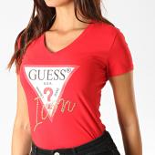 /achat-t-shirts/guess-tee-shirt-femme-col-v-avec-strass-w94i65-k7de0-rouge-dore-190360.html