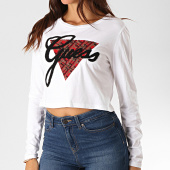 /achat-t-shirts-manches-longues/guess-tee-shirt-manches-longues-crop-femme-avec-strass-w94i76-r5jk0-blanc-190363.html
