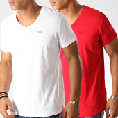/achat-t-shirts/kaporal-lot-de-2-tee-shirts-col-v-gift-blanc-rouge-190852.html