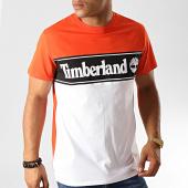 /achat-t-shirts/timberland-tee-shirt-cut-and-sew-a1oa4-orange-blanc-191285.html