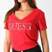/achat-t-shirts/guess-tee-shirt-col-v-femme-w94i62-k7dn0-rouge-argente-191396.html