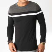 /achat-t-shirts-manches-longues/lbo-tee-shirt-manches-longues-tricolore-820-gris-anthracite-blanc-noir-191689.html