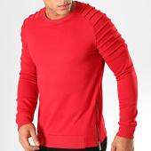/achat-sweats-col-rond-crewneck/lbo-sweat-crewneck-avec-zips-884-rouge-191710.html