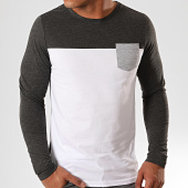 /achat-t-shirts-manches-longues/lbo-tee-shirt-manches-longues-avec-poche-899-anthracite-chine-blanc-191724.html