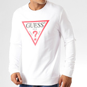 /achat-sweats-col-rond-crewneck/guess-sweat-crewneck-slim-m94q24-k7on0-blanc-191917.html