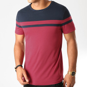 /achat-t-shirts/lbo-tee-shirt-bicolore-918-bordeaux-bleu-marine-192046.html