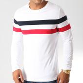 /achat-t-shirts-manches-longues/lbo-tee-shirt-manches-longues-avec-bandes-tricolore-906-bleu-marine-rouge-blanc-192051.html