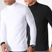 /achat-t-shirts-manches-longues/lbo-lot-de-2-tee-shirt-col-roule-manches-longues-uni-892-noir-et-blanc-192052.html