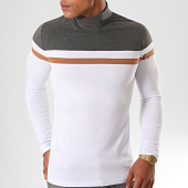 /achat-t-shirts-manches-longues/lbo-tee-shirt-col-roule-manches-longues-tricolore-901-blanc-anthracite-camel-192054.html