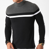 /achat-t-shirts-manches-longues/lbo-tee-shirt-col-roule-manches-longues-tricolore-890-noir-anthracite-blanc-192056.html