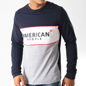 /achat-t-shirts-manches-longues/american-people-tee-shirt-manches-longues-ap-pam-bleu-marine-blanc-gris-chine-192422.html