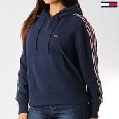 /achat-sweats-capuche/tommy-hilfiger-jeans-sweat-capuche-femme-a-bandes-tonal-7345-bleu-marine-192512.html