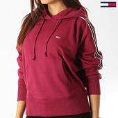 /achat-sweats-capuche/tommy-hilfiger-jeans-sweat-capuche-femme-a-bandes-tonal-7345-bordeaux-192514.html