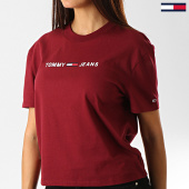 /achat-t-shirts/tommy-hilfiger-jeans-tee-shirt-femme-clean-linear-logo-7429-bordeaux-blanc-192516.html
